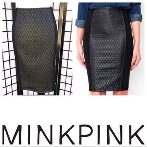 MINKPINK The Boss Black Quilted Pencil Skirt